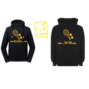 1 Sweat papa + 2 Sweats enfant Tel Père Tel Fils Tennis