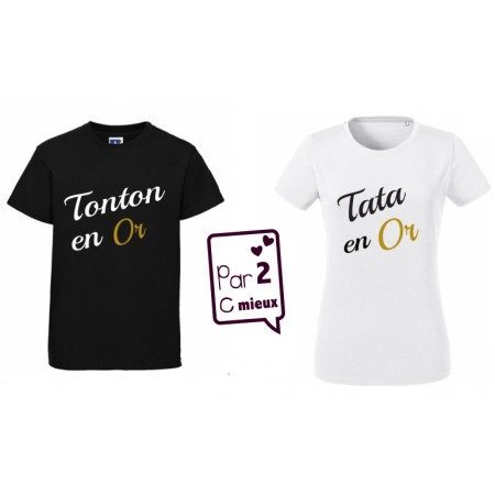 2 T-shirts Tonton / Tate en Or ML & MC