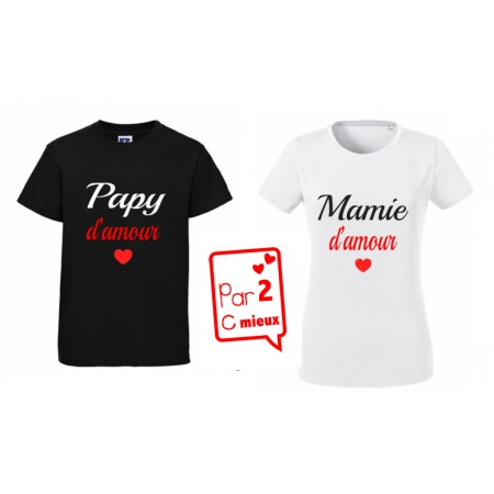2 T-shirts Papa & Maman d'amour ML & MC