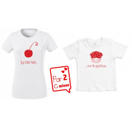 1 T-Shirt Coquette Maman & 1 T-Shirt Coquette Fille.
