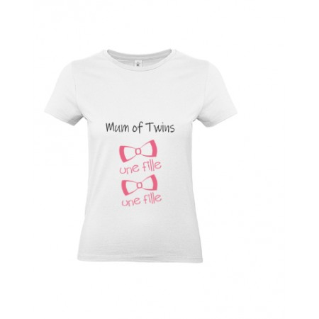 T-shirt Mum of twins 2 Filles MC ou ML