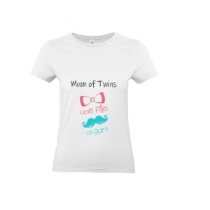 T-shirt Mum of twins Un gars Une fille MC ou ML