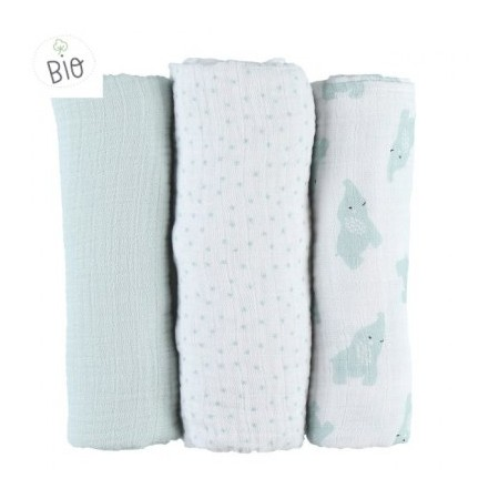 LOT DE 3 LANGES ANNA GRIS 70X70CM - MOUSSELINE BIO MIX & MATCH NOUKIES