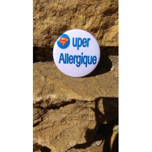 Badge *Super Allergique bleu*