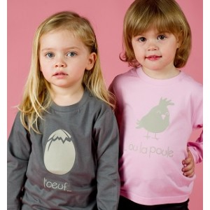 2 T-shirts Oeuf poule Manches courtes